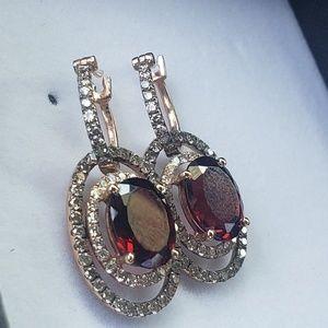 LeVian 14kt Gold Diamonds ,Rhodolite Earrings